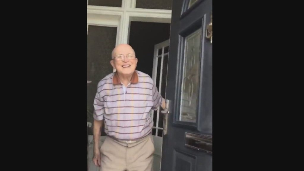 Granddad's doorstep reaction goes viral