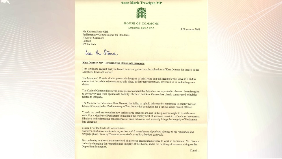 Letter to Parliamentary Commissioner for Standards
