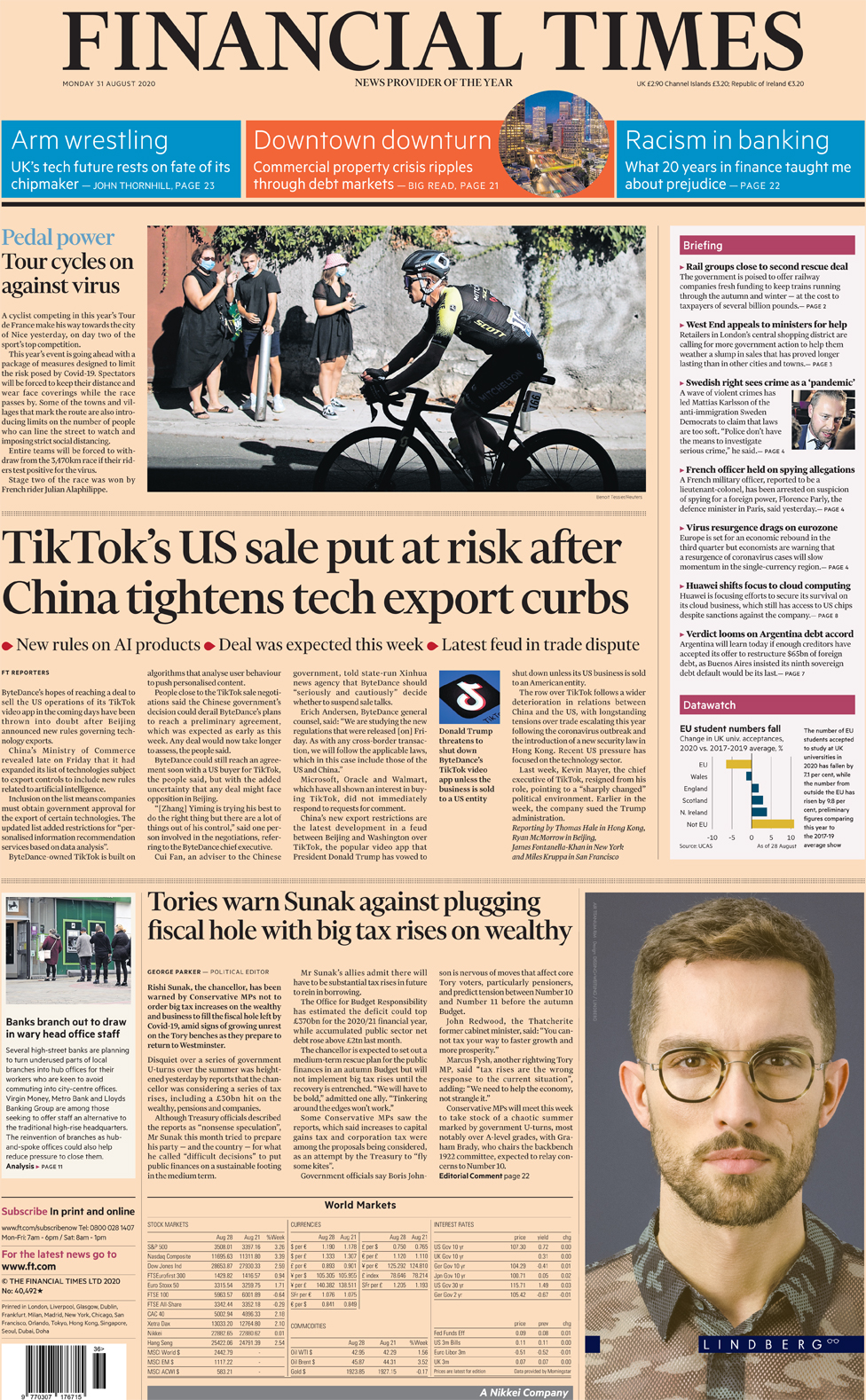 The Financial Times front page 31 August 2020