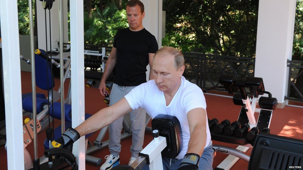 Russia S Putin And Medvedev Work Out Together Bbc News