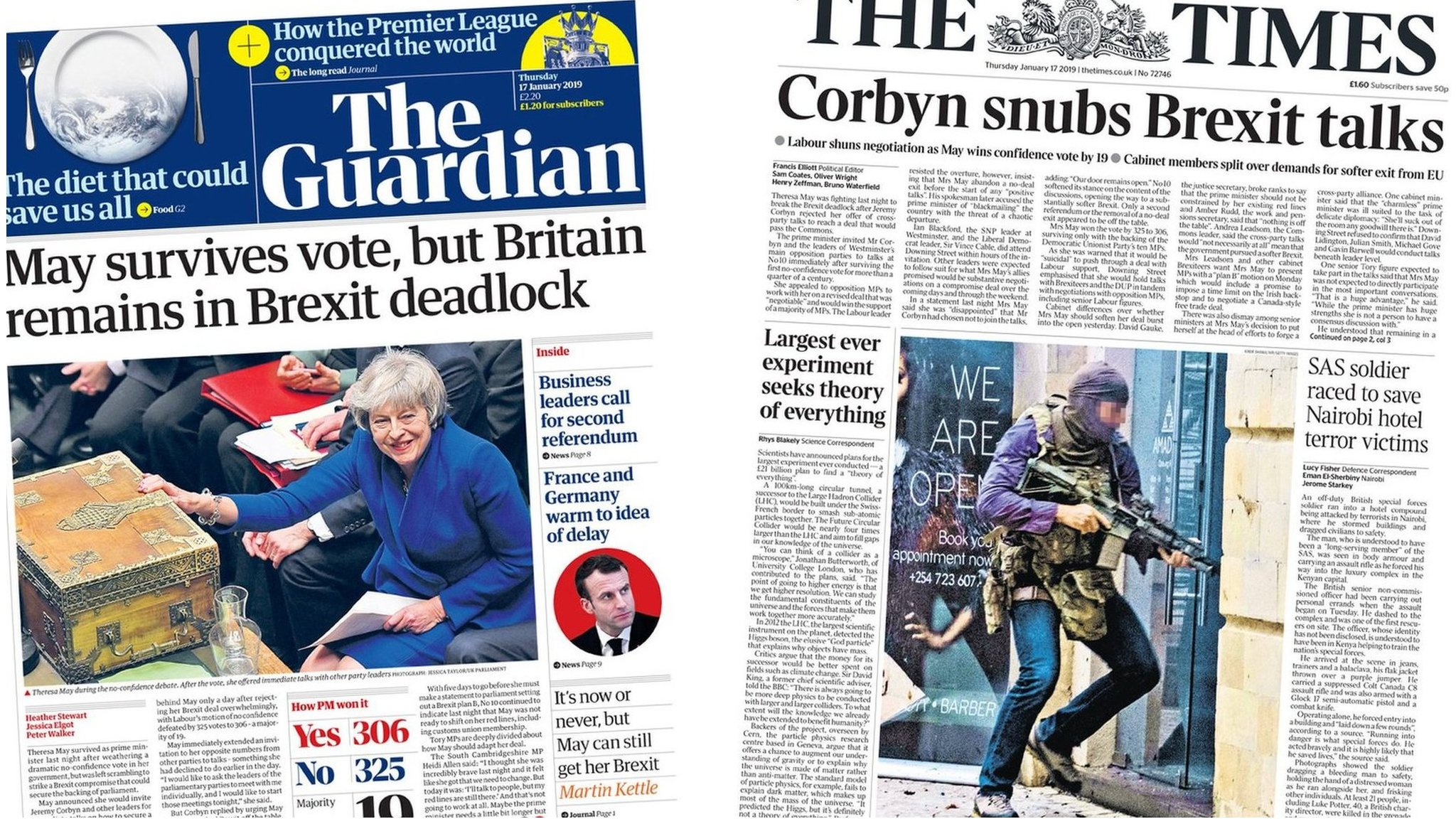 The Papers: Corbyn's 'snub' amid Brexit deadlock