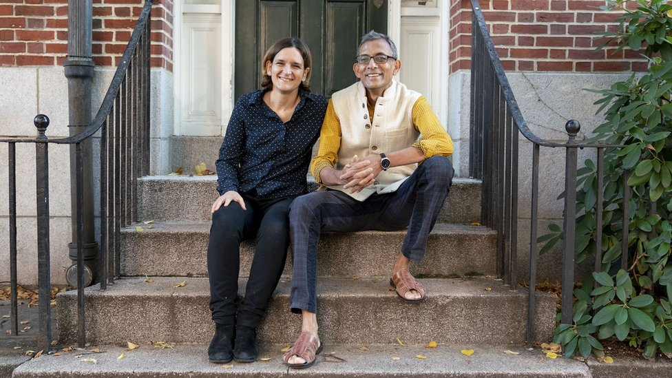 Abhijit Banerjee and Esther Duflo winners of the 2019 Nobel Prize for Economics at their home in Boston, Massachusetts on October 14, 2019.