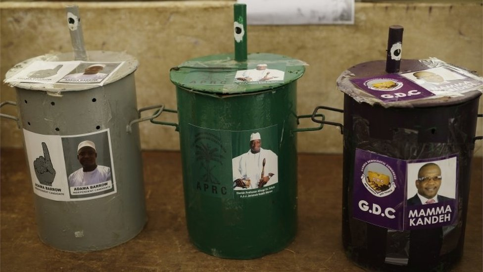 Three ballot drums are set in a polling station in Serrekunda, Gambia, Wednesday Nov. 30, 2016,
