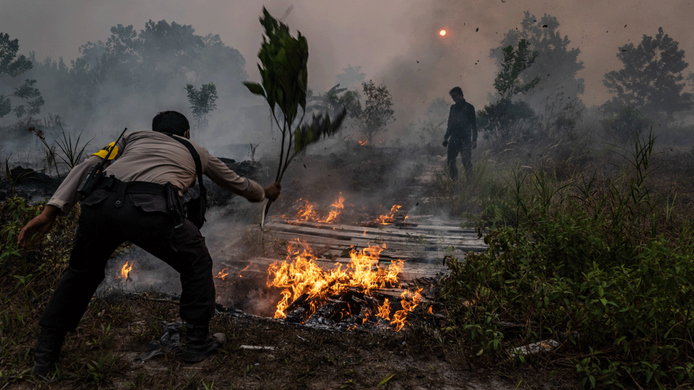 A police officer attempts to extinguish a fire in Indonesia