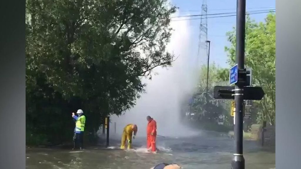 Flooding caused by burst water pipe in Newburn