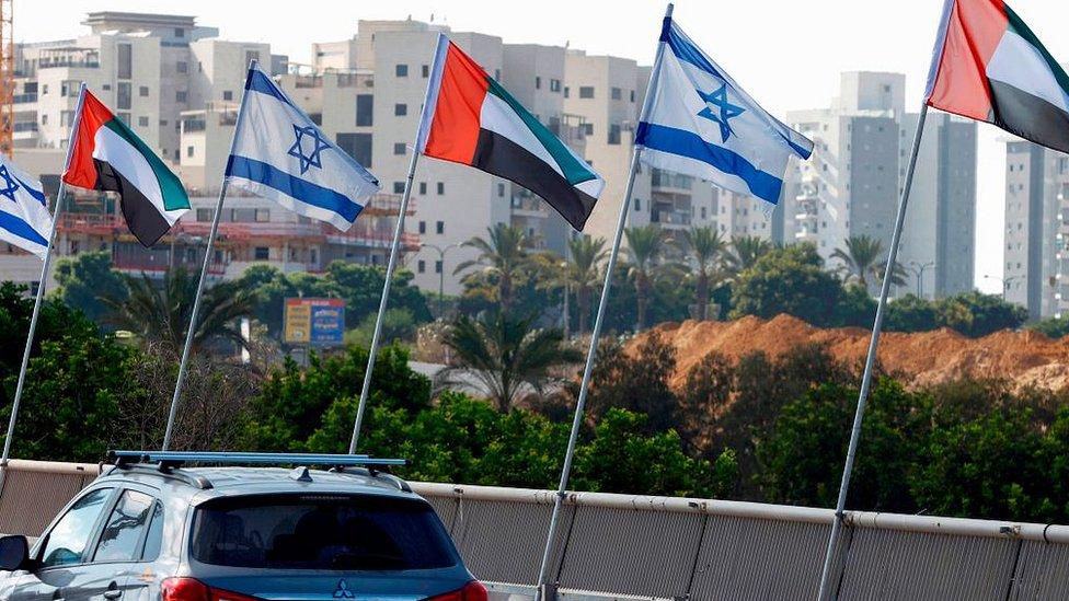 Israeli and United Arab Emirates flags line a road in the Israeli coastal city of Netanya, on August 16, 2020