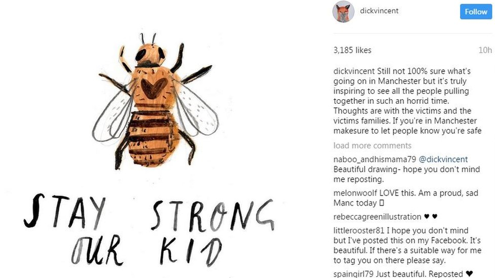 """Bee image: """"Stay strong our kid"""""""