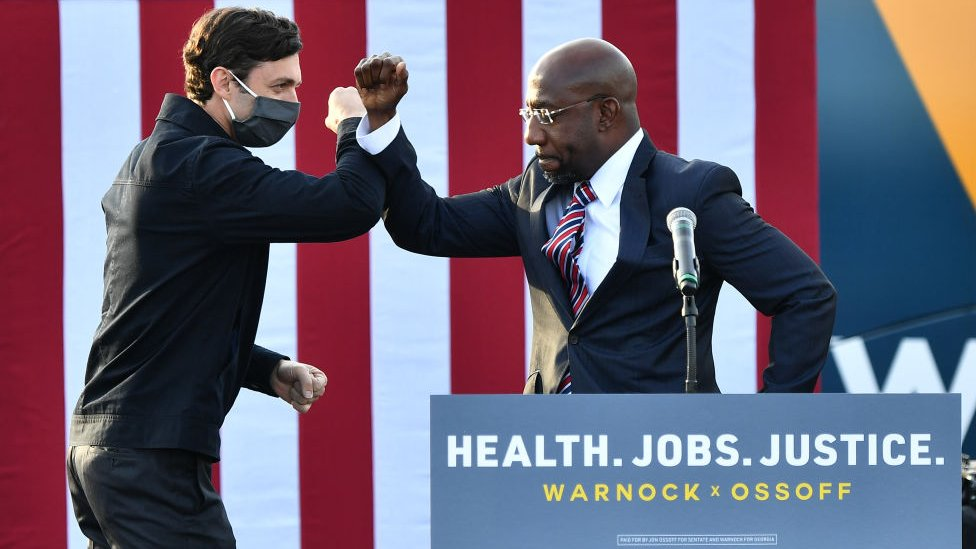 Jon Ossoff and Raphael Warnock are the Democratic challengers