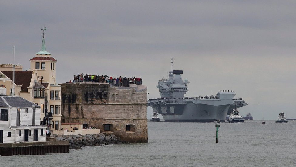 HMS Prince of Wales entering Portsmouth