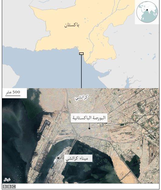خريطة لموقع الهجوم في كراتشي