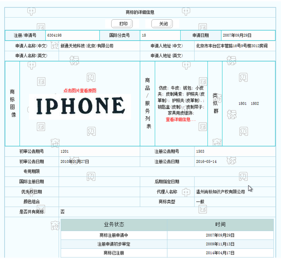 IPHONE's basic registration with the Trademark Office