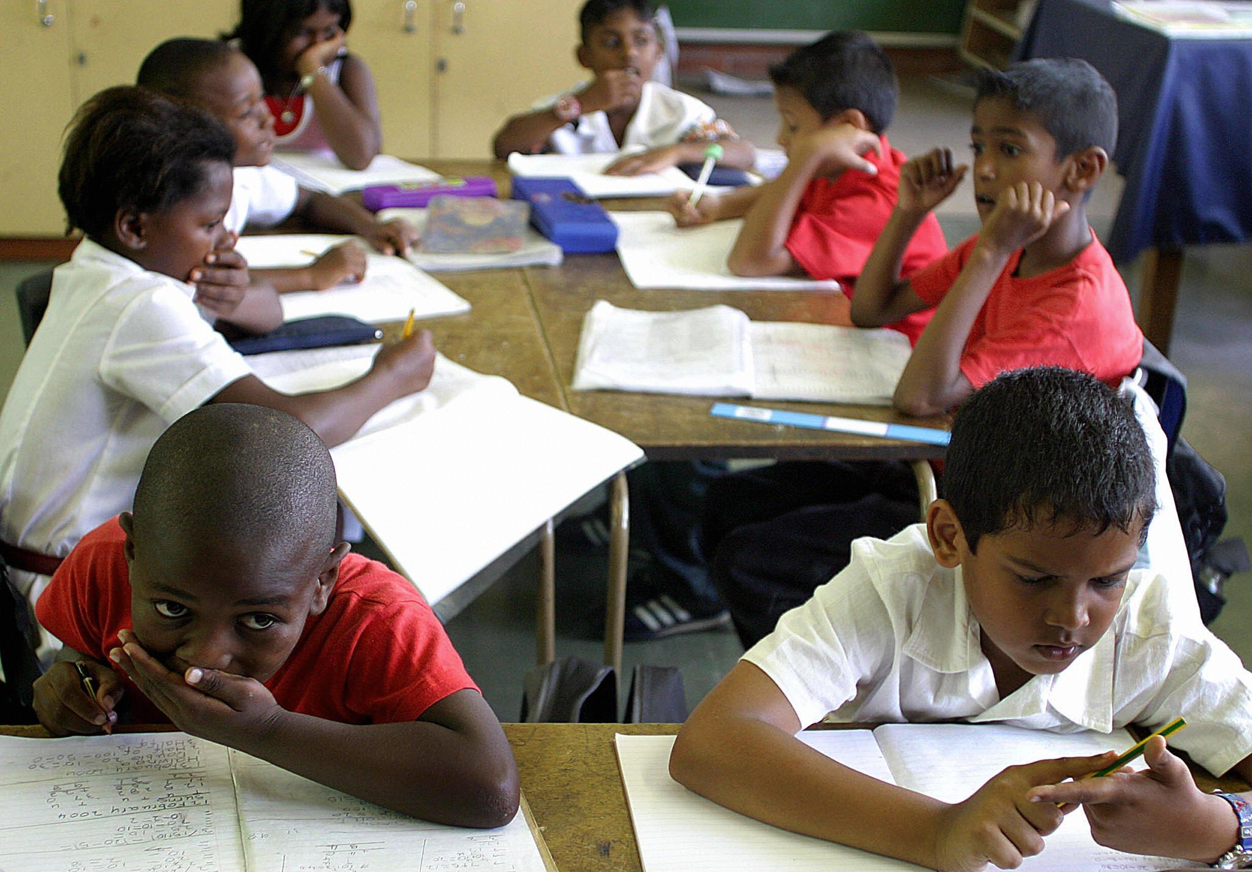 School children in class in Durban, South Africa