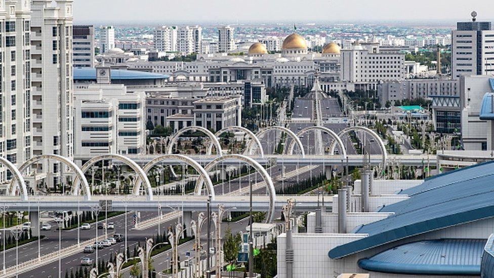 An aerial view of Ashgabat in Turkmenistan