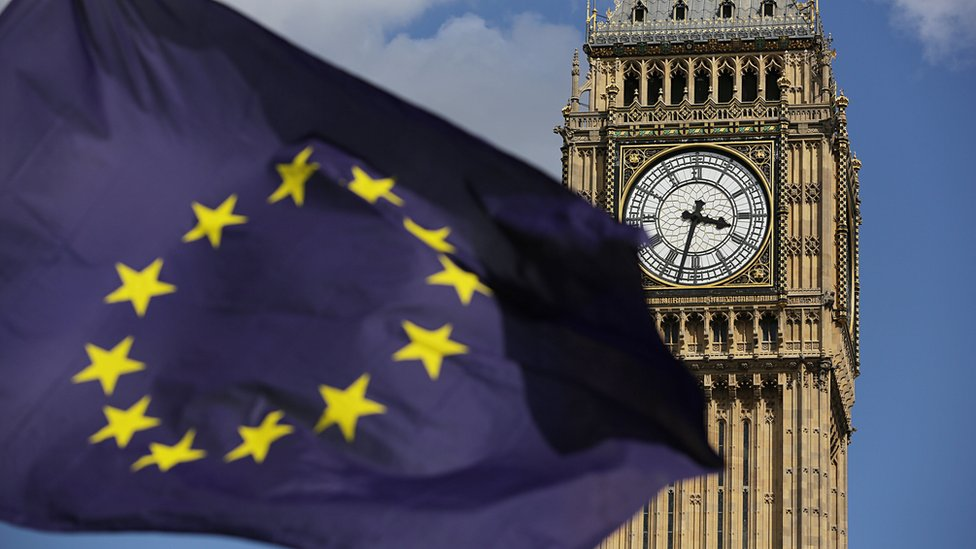 A European Union flag in front of Elizabeth Tower in Westminster