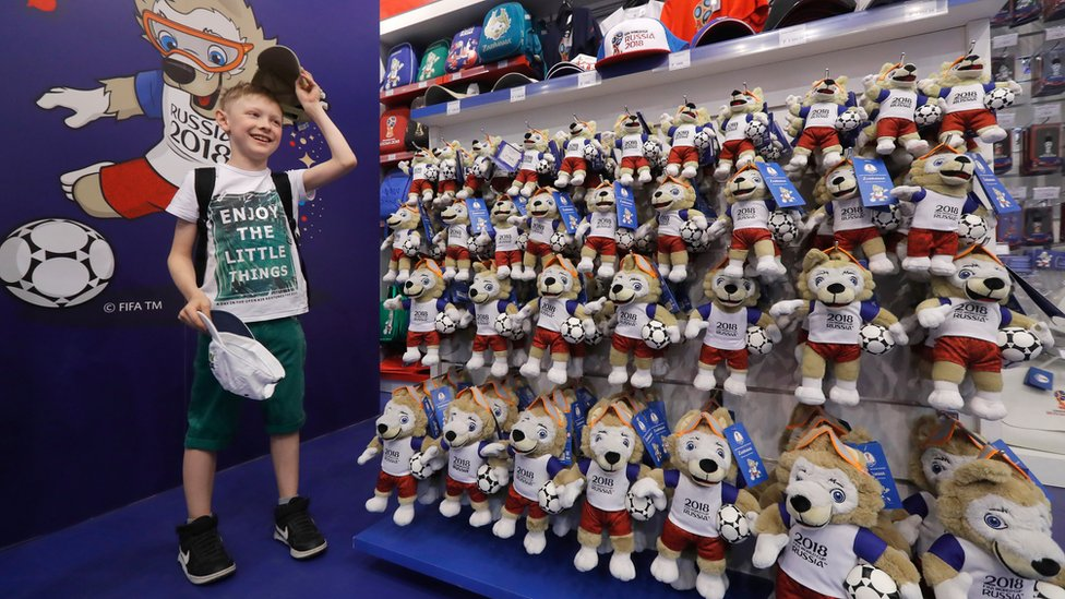 Boy in Russia shop