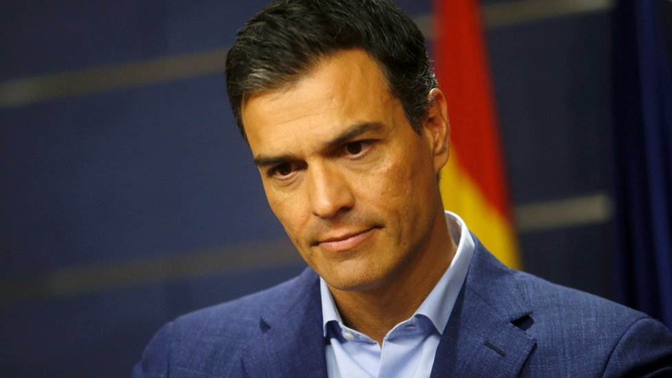 Pedro Sanchez at a news conference in Madrid on August 17, 2016.