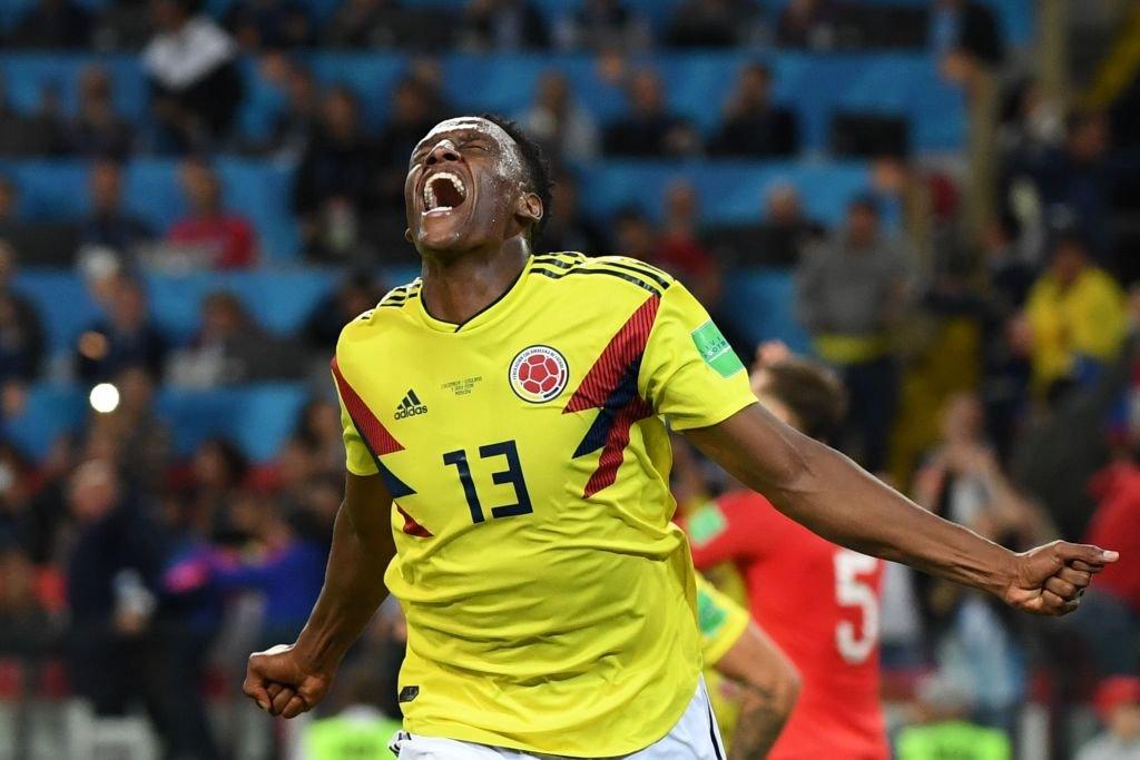 Mina celebra el gol de agónico empate para Colombia contra Inglaterra, pero al final fue eliminada en la definición por penales.