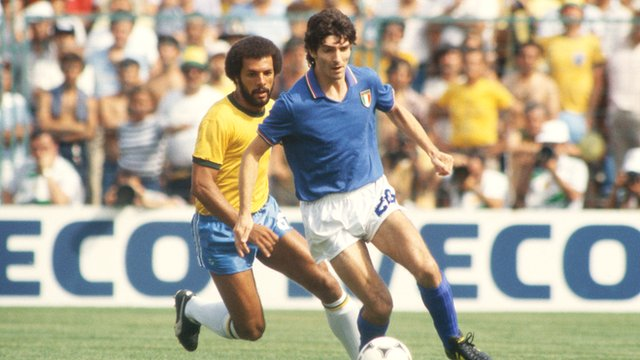 Italy's Paolo Rossi scores a hat-trick against Brazil in 1982