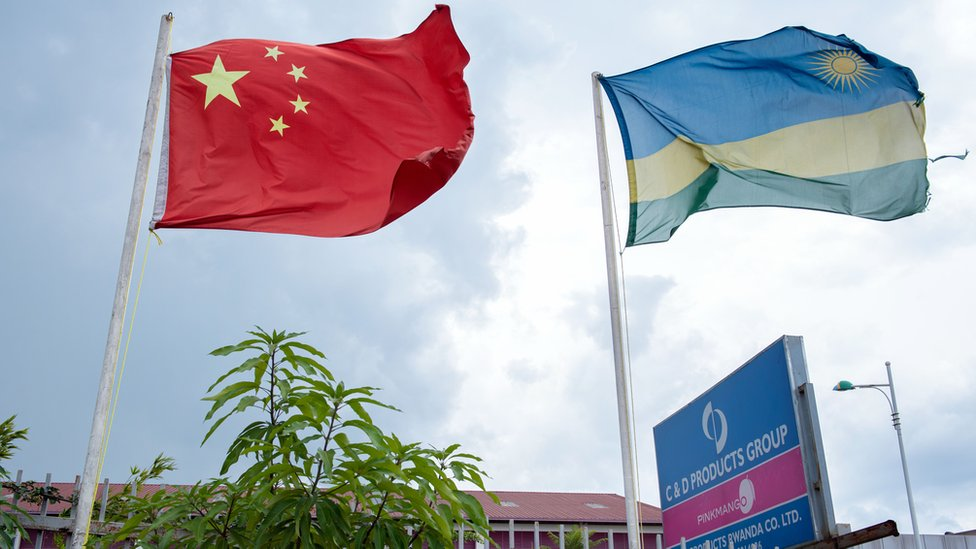 A Chinese flag outside the C&D Products factory in Kigali