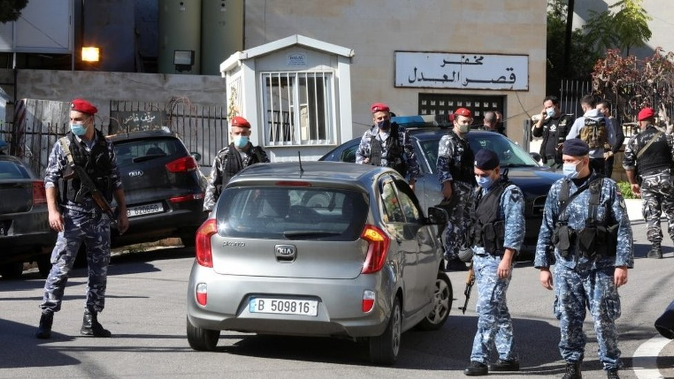 Security forces outside the prison