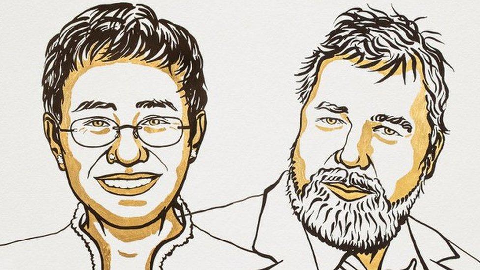 Ilustración de María Ressa y Dmitry Muratov por Niklas Elmehed