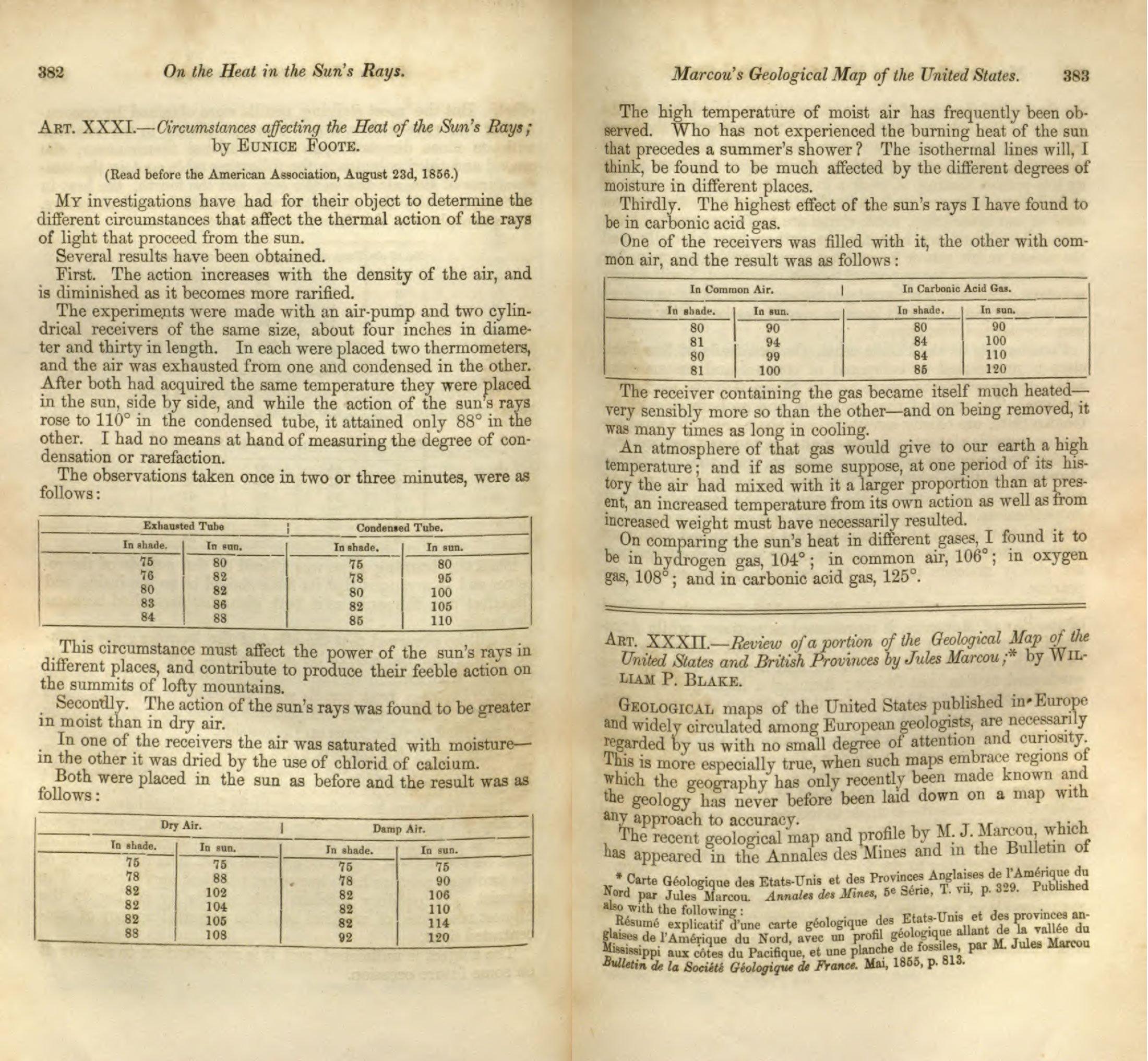 Hallazgos de Foote publicados en la American Journal of Science en 1857