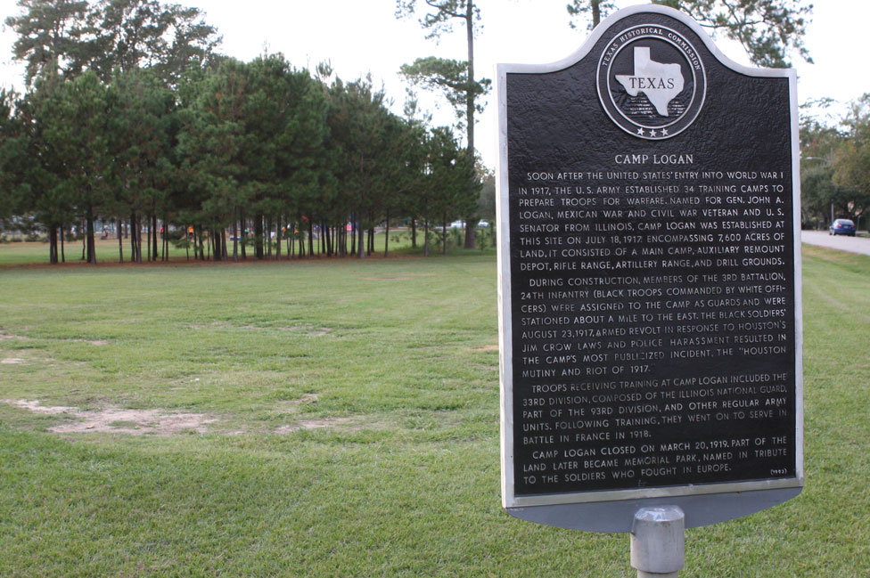 A sign at the site of Camp Logan