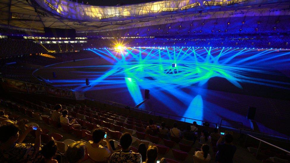 Light show at Birds nest stadium