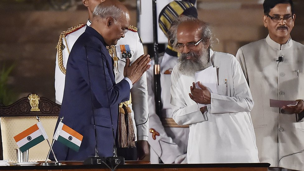 Bharatiya Janata Party (BJP) leader Pratap Chandra Sarangi greets President Ram Nath Kovind after taking oath as a Minister of State during the swearing-in ceremony of the NDA government, at Rashtrapati Bhavan, on May 30, 2019 in New Delhi, India.