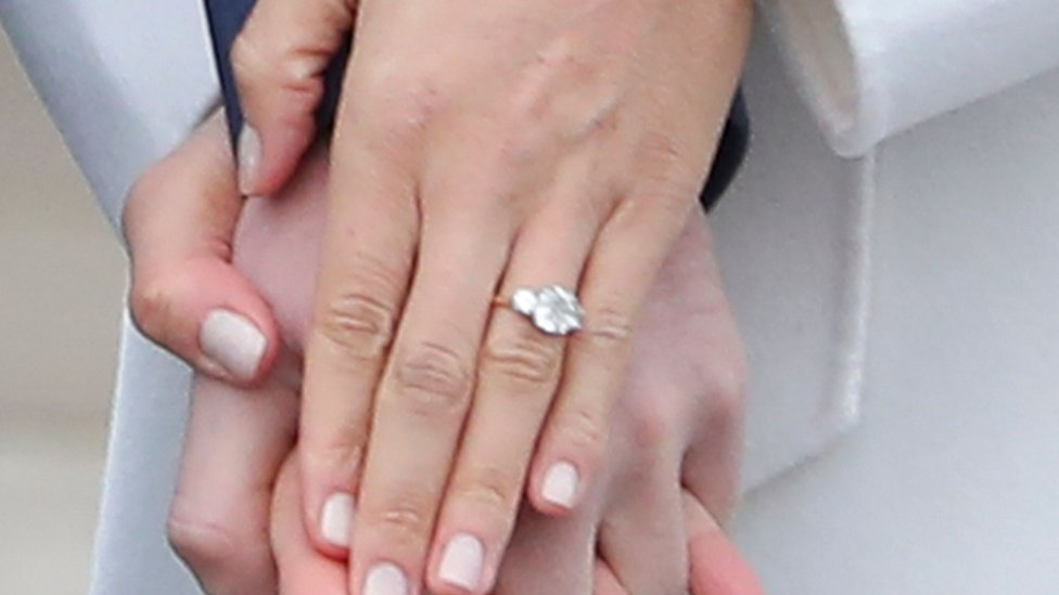 Meghan Markle shows her engagement ring to the press
