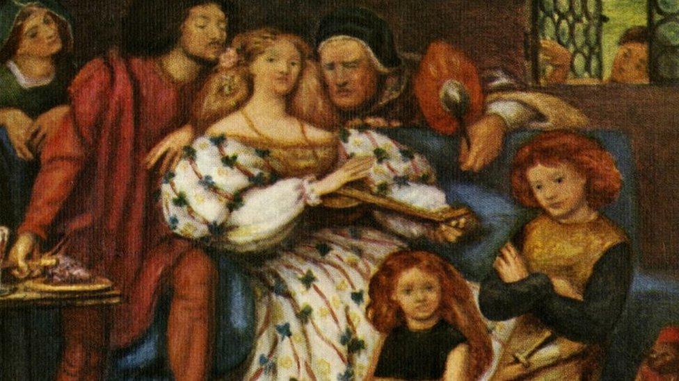 La familia Borgia sentada