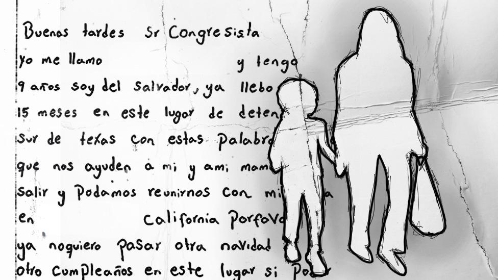 Una ilustración muestra una carta escrita por L junto a un dibujo de una mujer cogiendo de la mano a una niña.