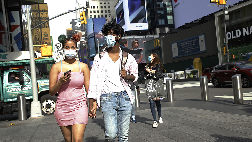 Masks being worn near Times Square, New York City, 21 Oct