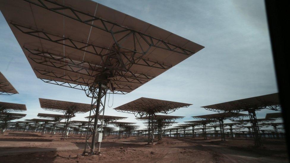 Planta de energía termosolar en Chile.