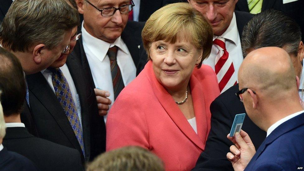 The German Chancellor, Angela Merkel, in parliament