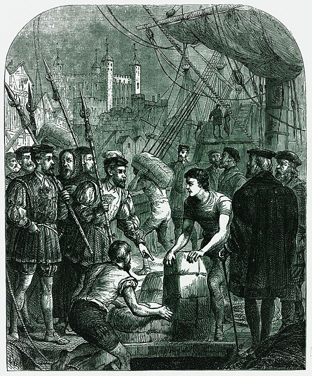 Grabado que muestra cómo las copias de la Biblia vernácula de Tyndale llegaba a Inglaterra escondida en fardos de diversos bienes.