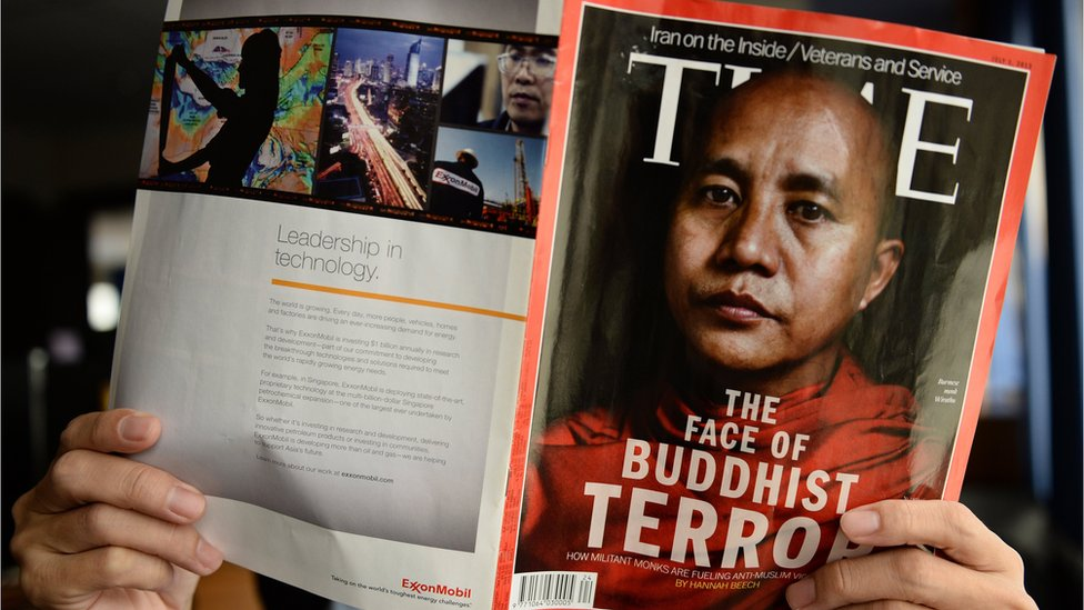 Mr Wirathu on the cover of Time magazine with the title 'The Face of Buddhist Terror?'