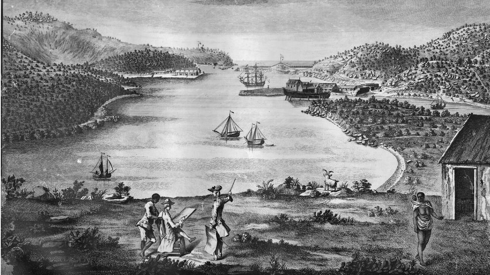 A drawing of English Harbour dating from 1756