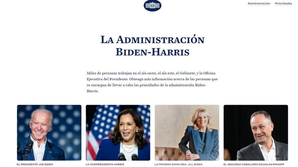 La página en español de la Casa Blanca