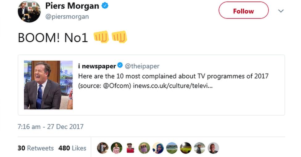 Piers Morgan's tweet: Boom! Number one