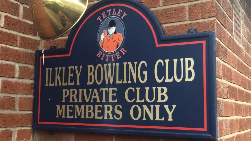 A sign at the club
