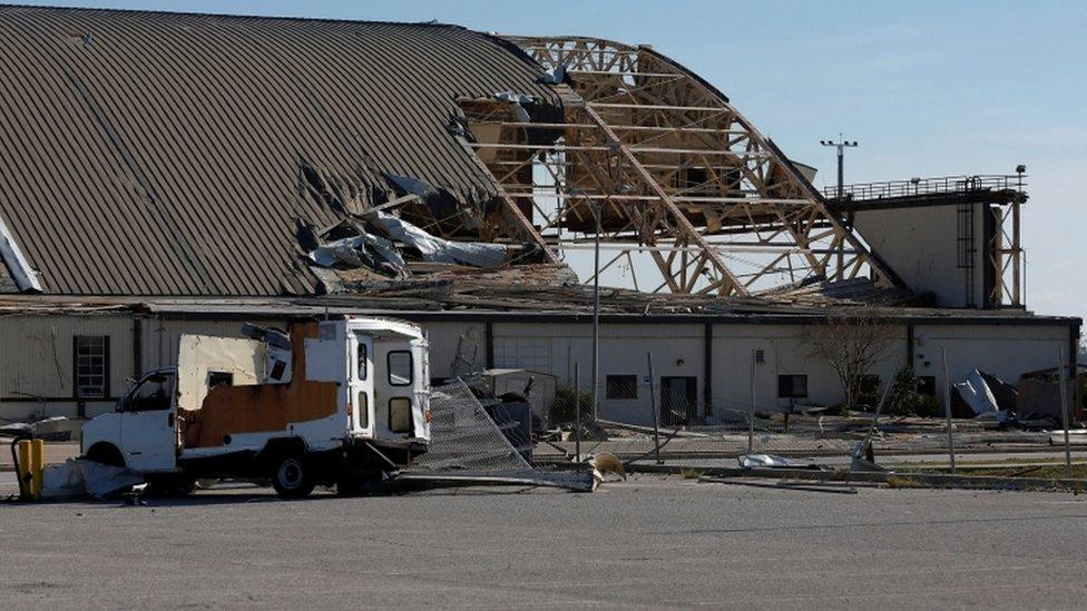 A damaged hangar at the Tyndall Air Force Base