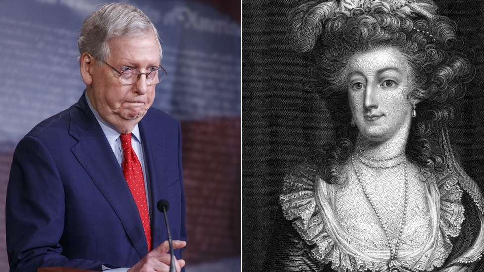 Composite picture showing Mitch McConnell (left) and Marie Antoinette