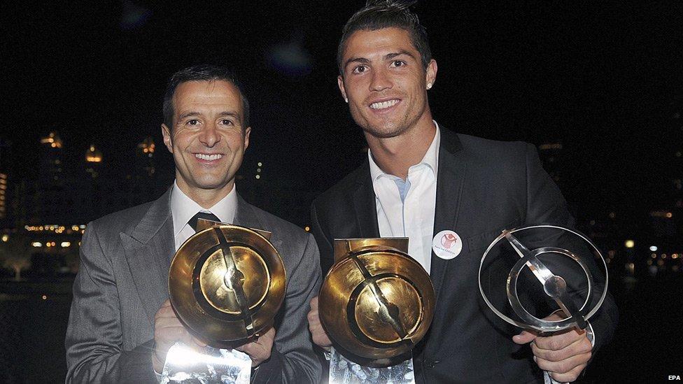 Jorge Mendes (left) and Cristiano Ronaldo - file pic