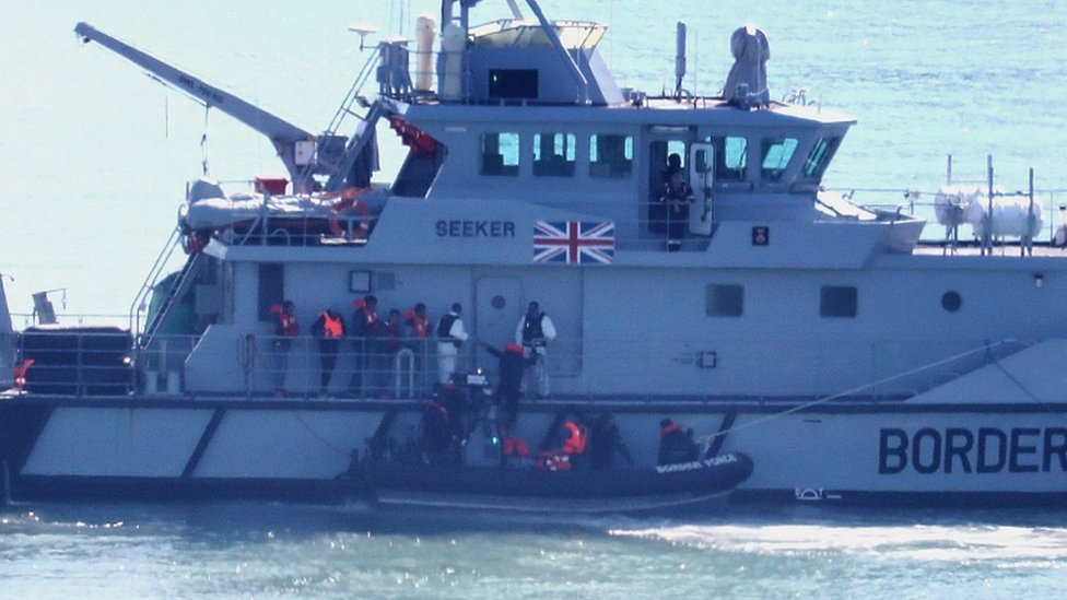 Border Force vessel intercepting migrants