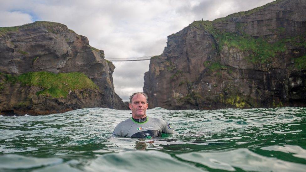 Anrí Ó Domhnaill near Carrick-a-Rede rope bridge in County Antrim