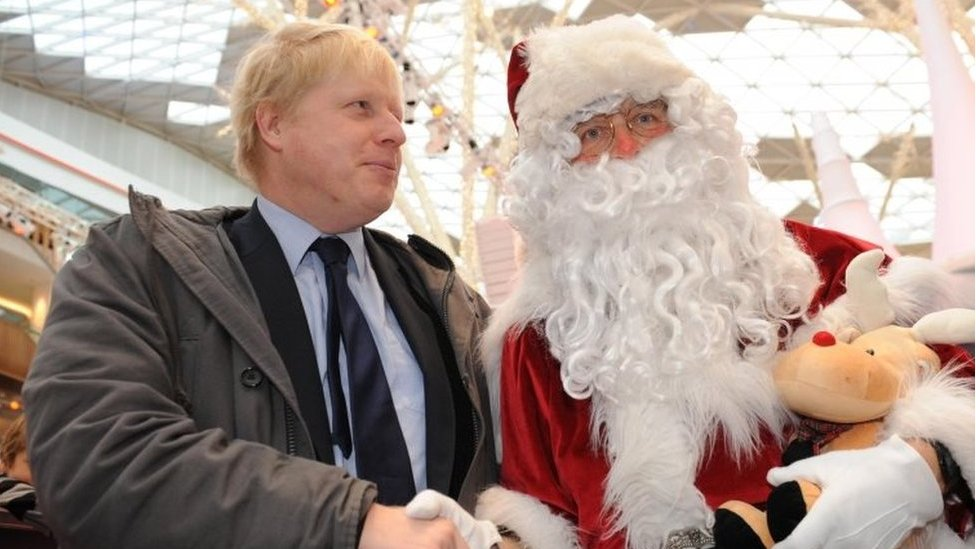Boris Johnson and Father Christmas in 2010