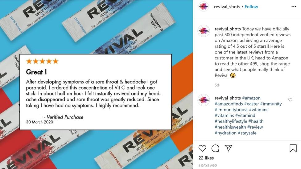 Revival Shots' banned Instagram advertisement