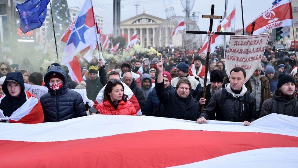 Protesta en Minsk el 7 de diciembre de 2019.