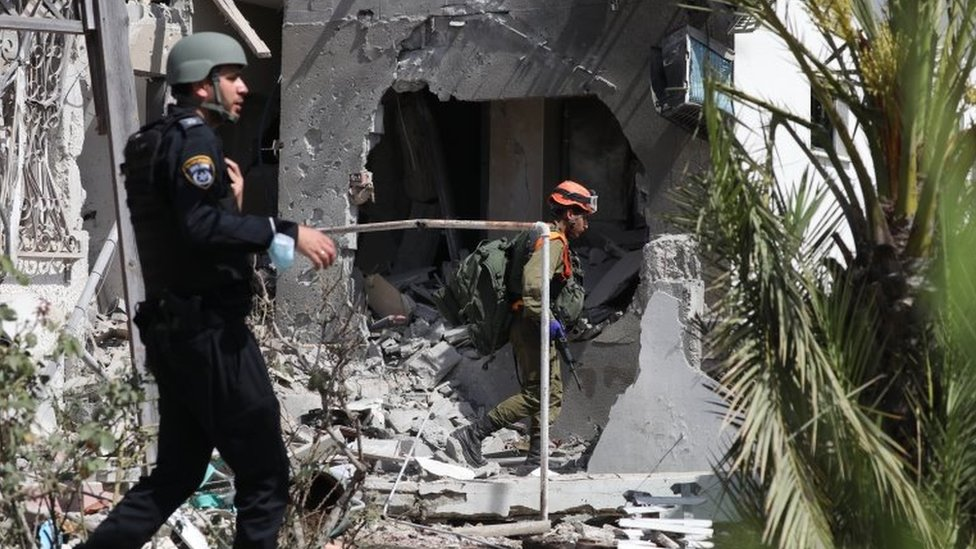 Fuerzas de seguridad israelíes en Ashkelon